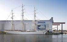 The three-masted steel clipper, named RNOV Shabab Oman II